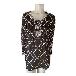 White House Black Market Silky Lace Up Tunic XS